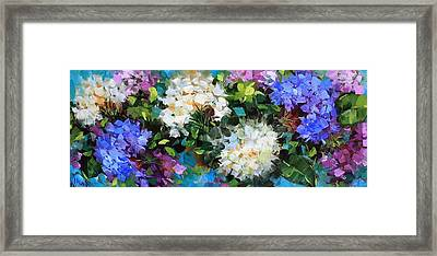 Love Abounds Hydrangeas Framed Print