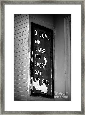 Love And Miss You Framed Print