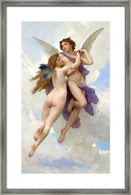 Love And Psyche Framed Print by Adolphe-William Bouguereau