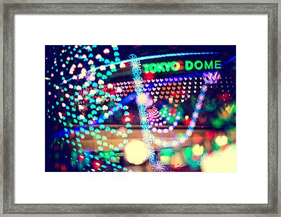 Love And Tokyo Dome With Colorful Psychedelic Heart Lights Framed Print by Beverly Claire Kaiya