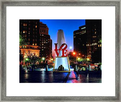 Love At Night Framed Print by Nick Zelinsky