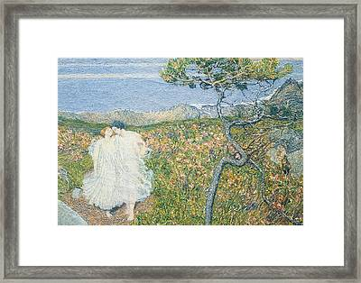 Love At The Fountain Of Life Or Lovers At The Sources Of Life Framed Print by Giovanni Segantini