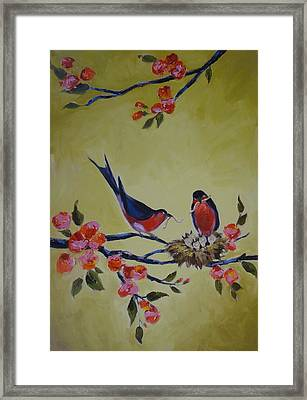 Love Birds Nesting Framed Print by Kelley Smith