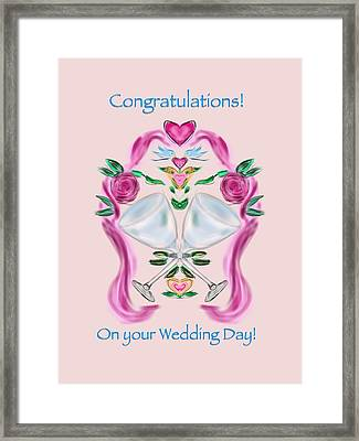 Framed Print featuring the digital art Love Birds Pink Wedding by Christine Fournier