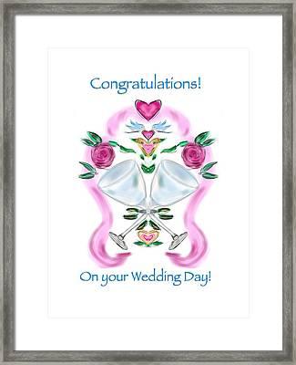 Framed Print featuring the digital art Love Birds White Wedding by Christine Fournier