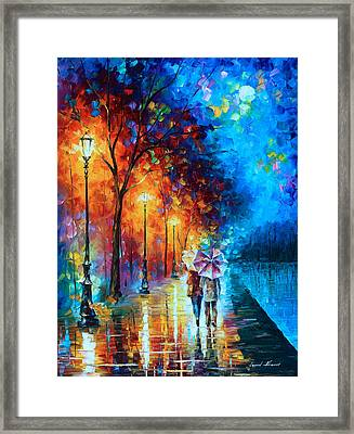 Love By The Lake Framed Print by Leonid Afremov