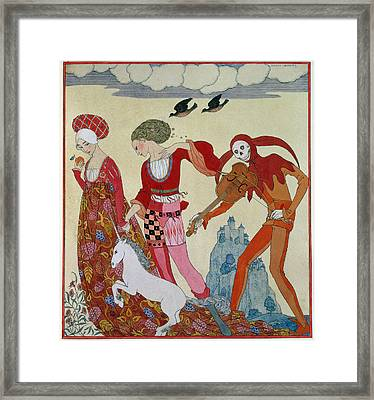 Love Desire And Death Framed Print by Georges Barbier