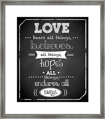 Love Endures Framed Print by Anna Quach