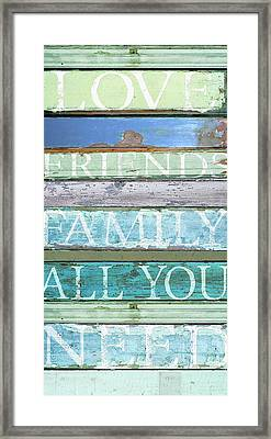 Love, Friends, Family Framed Print by Cora Niele