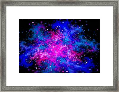 Love Galaxy Pink And Blue With Hearts Framed Print by Matthias Hauser