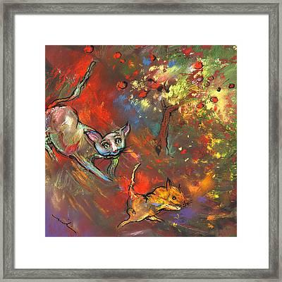 Love Games Under The Appletree Framed Print by Miki De Goodaboom