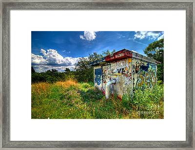 Love Graffiti Covered Building In Field Framed Print by Amy Cicconi