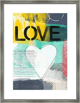 Love Graffiti Style- Print Or Greeting Card Framed Print by Linda Woods