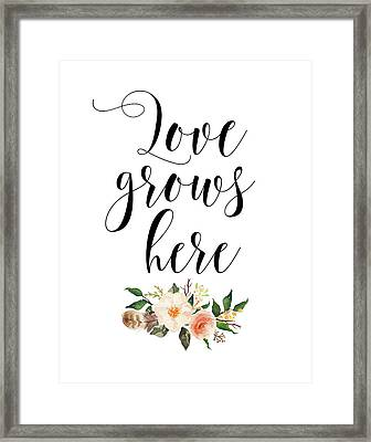 Love Grows Here Floral Framed Print by Tara Moss