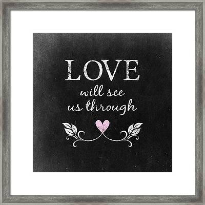 Love Heart Chalkboard Framed Print