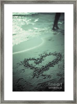 Love Heart Drawn On Beach Sand At Low Tide With Ocean Sea Framed Print by Edward Olive