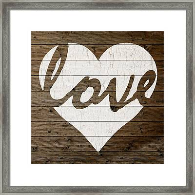 Love Heart Hand Painted Sign Peeling Paint White On Brown Wood Background Framed Print