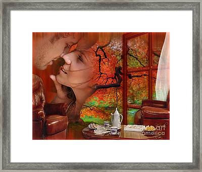 Framed Print featuring the digital art Love In Autumn - Digital Art By Giada Rossi by Giada Rossi