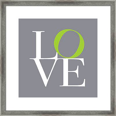 Love In Grey With A Lime Twist Framed Print