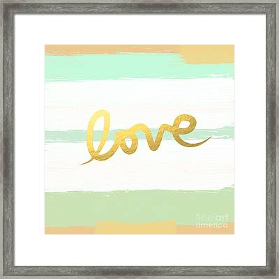 Love In Mint And Gold Framed Print by Linda Woods