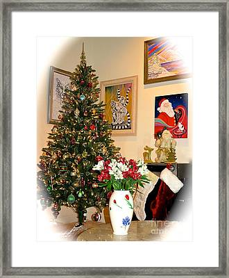 Love In Our Hearts And Santa In The Corner Framed Print