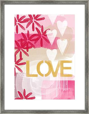 Love In Pink And Gold Framed Print by Linda Woods