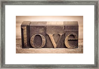 Love In Printing Blocks Framed Print by Jane Rix