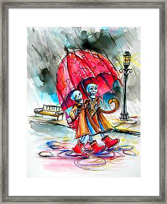 Framed Print featuring the painting Love In The Rain by Heather Calderon