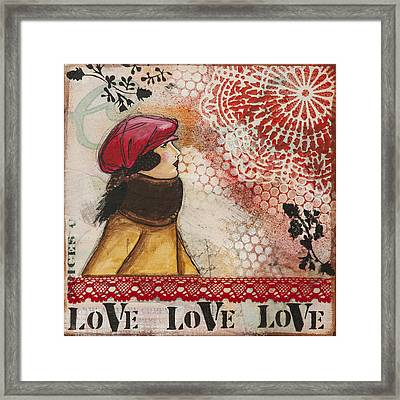 Love Inspirational Mixed Media Folk Art Framed Print
