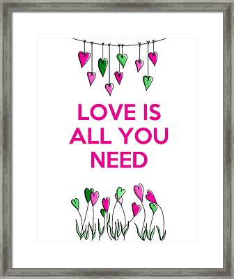 Love Is All You Need Framed Print by Kelly McLaughlan