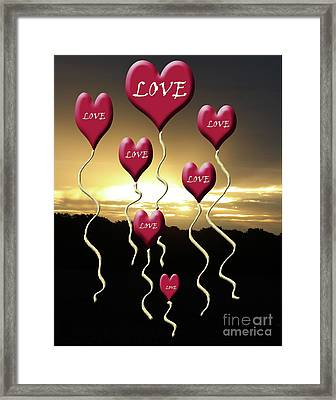 Love Is In The Air Golden Silhouette Framed Print