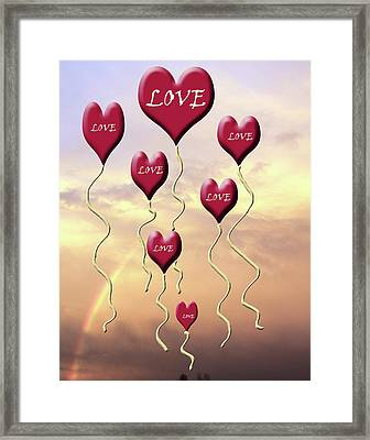 Love Is In The Air Sunshine Rainbow Framed Print by Cathy  Beharriell