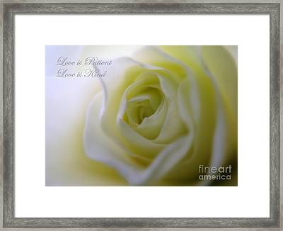 Love Is Patient Framed Print by Patti Whitten