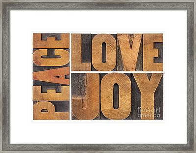Love Joy And Peace Framed Print by Marek Uliasz