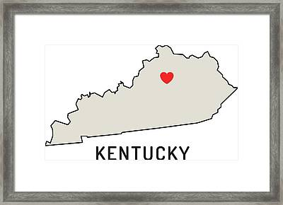 Love Kentucky State Framed Print by Chokkicx