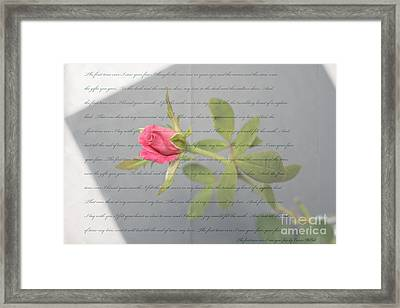 Love Letter Lyrics And Rose Framed Print by Ella Kaye Dickey