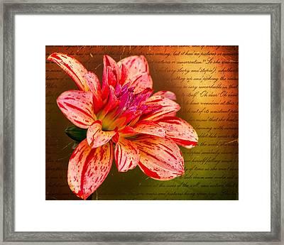 Love Letter To Dahlia Framed Print