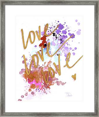 Love, Love, Love With Watercolor Framed Print by Patricia Pinto