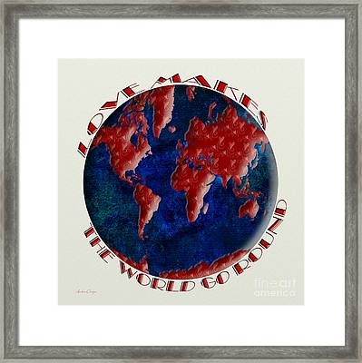 Love Makes The World Go Round 1 Framed Print by Andee Design