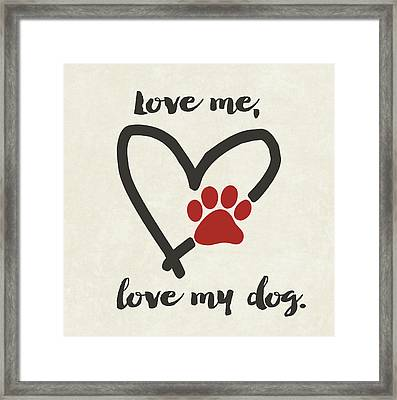 Love My Dog Framed Print by Jo Moulton