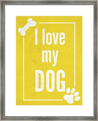 Love My Dog Yellow Framed Print