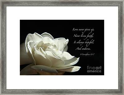 Love Never Gives Up Framed Print