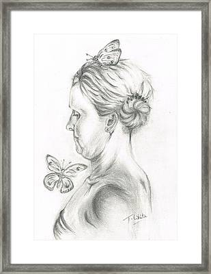 Framed Print featuring the drawing Loves- Her Butterflies by Teresa White