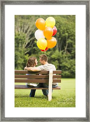 Love On A Park Bench Framed Print