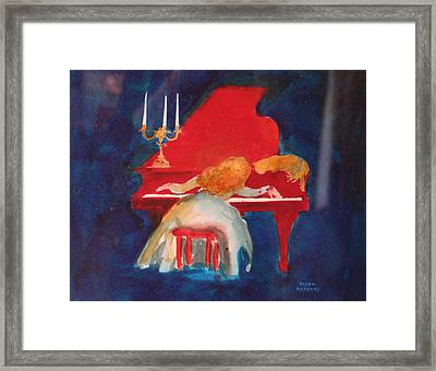 Love On The Red Piano Framed Print by Eve Riser Roberts