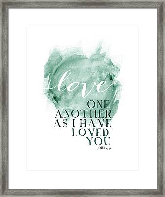 Love One Another Watercolor Circl Framed Print by Amy Cummings