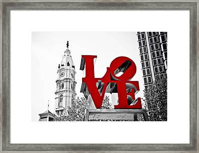 Love Park And City Hall Bw Framed Print