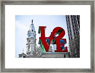 Love Park And City Hall Framed Print