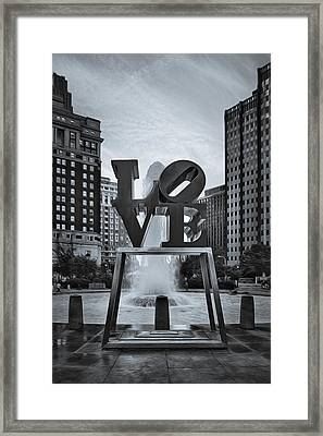 Love Park Bw Framed Print by Susan Candelario