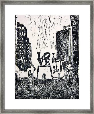 Love Park In Black And White Framed Print by Marita McVeigh